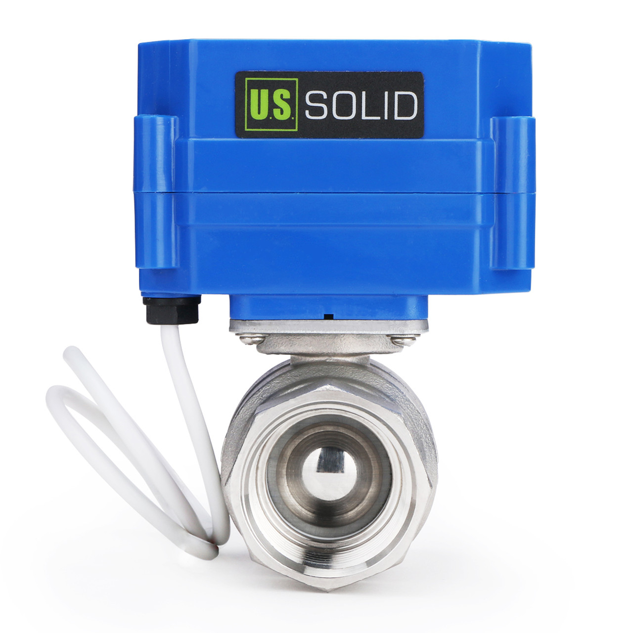 """U.S. Solid Motorized Ball Valve- 1"""" Stainless Steel Electrical Ball Valve with Full Port, 9-24 V DC, 5 Wire Setup"""