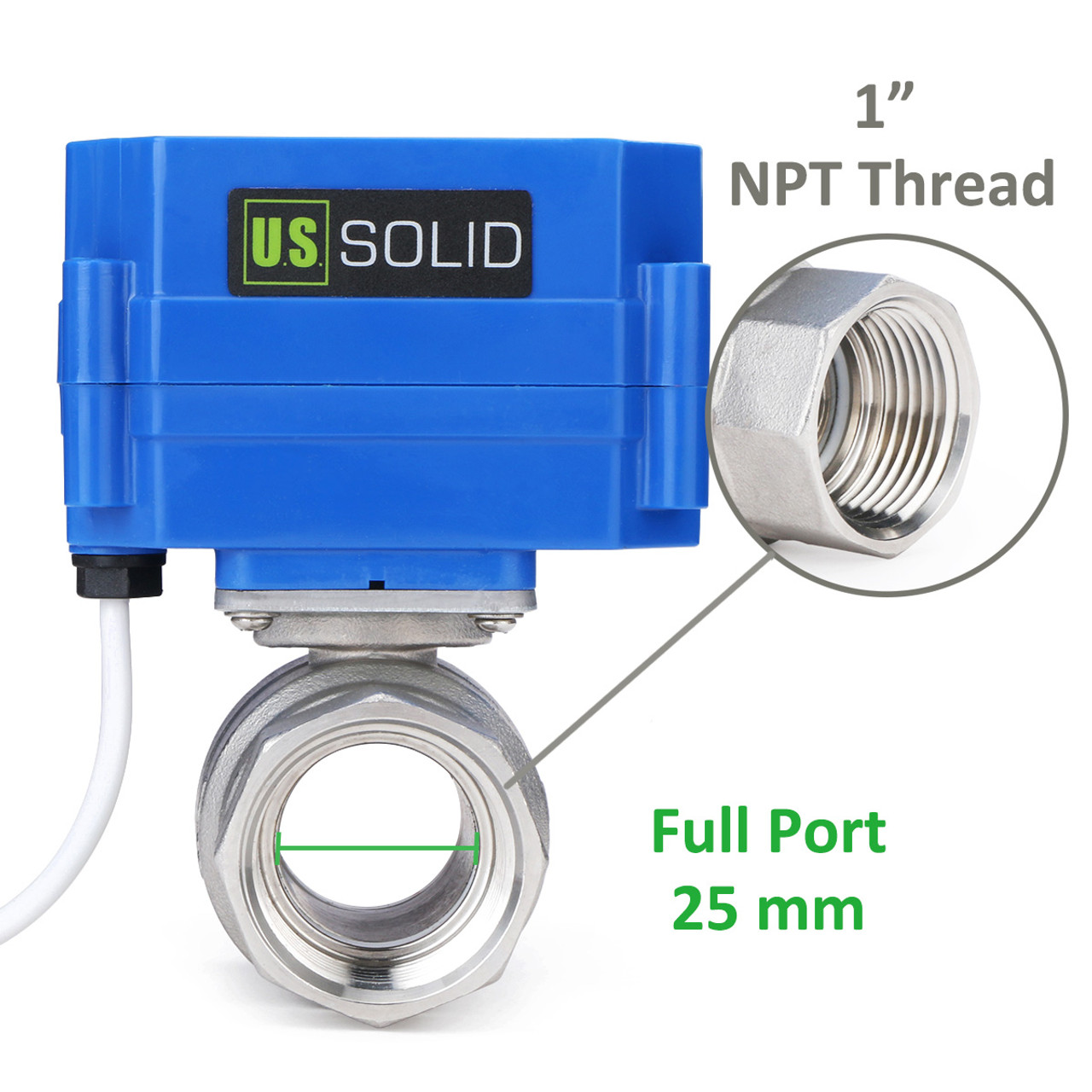 """USSOLID Motorized Ball Valve- 1"""" Stainless Steel Electrical Ball Valve with Full Port, 9-24 V DC, 5 Wire Setup"""