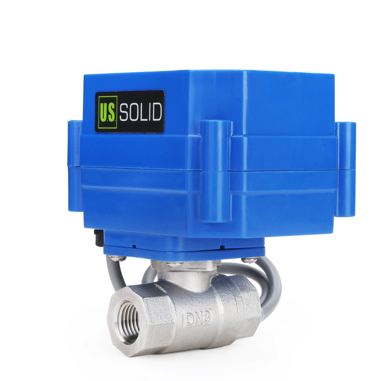 "USSOLID Motorized Ball Valve- 1/4"" Stainless Steel Electrical Ball Valve with Full Port, 9-24 V DC, 5 Wire Setup"