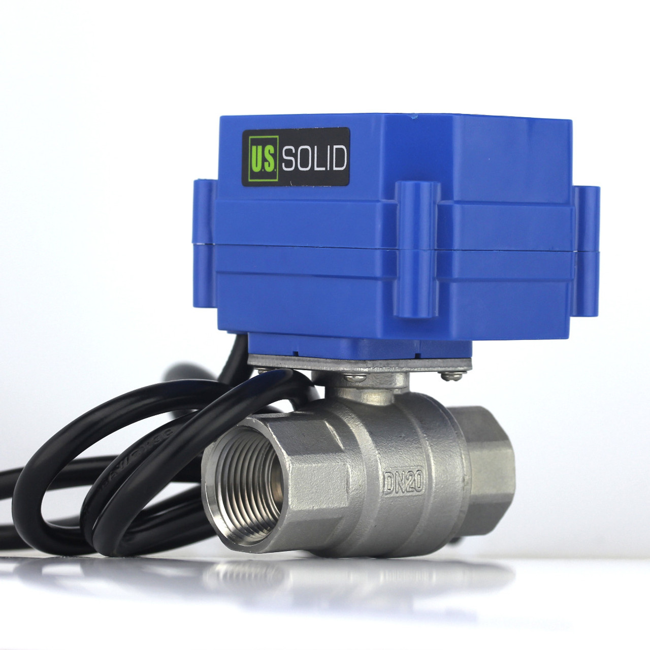 """U.S. Solid Motorized Ball Valve- 3/4"""" Stainless Steel Electrical Ball Valve with Full Port, 110 V AC, 2 Wire Auto Return"""