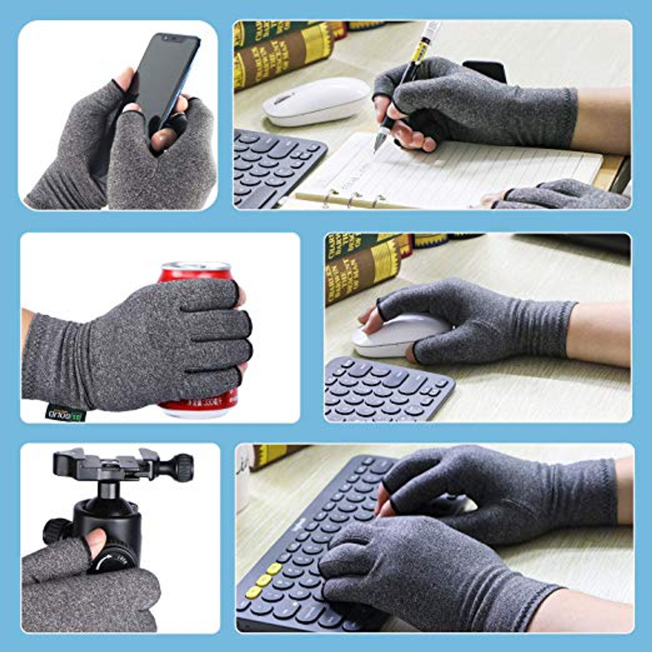 """Compression Gloves- Relieve Arthritis Pain, Large(Dia. of palm > 4"""")"""