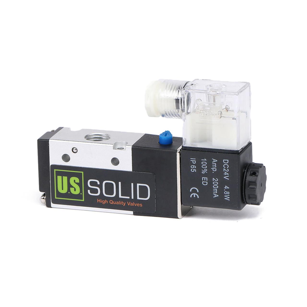 "U.S. Solid 1/4"" DC 24 V Pneumatic Electric Solenoid Valve 3 Way 2 Position, NPT"