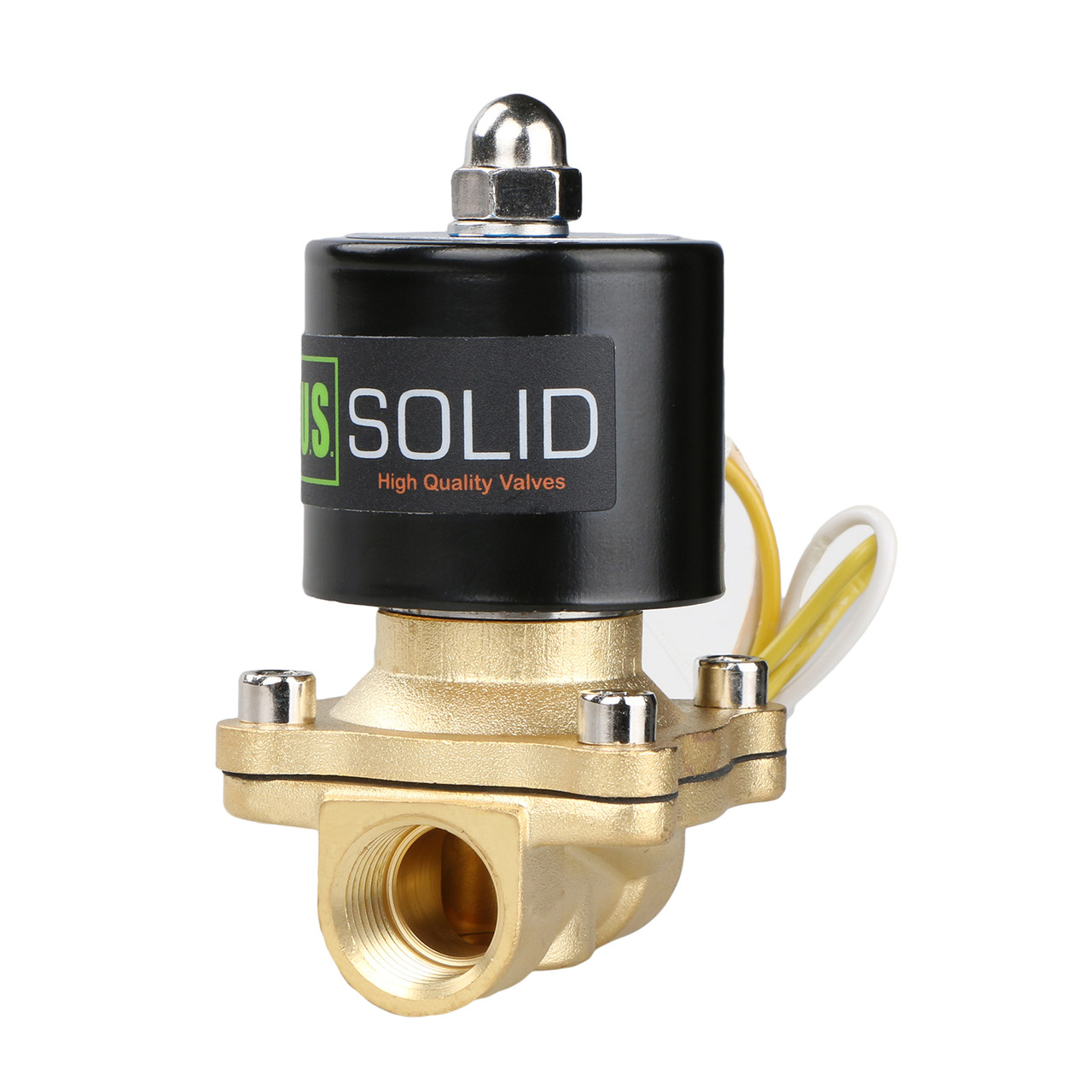 "USSOLID Electric Solenoid Valve- 1/2"" 110V AC Solenoid Valve Brass Body Normally Closed, VITON SEAL"