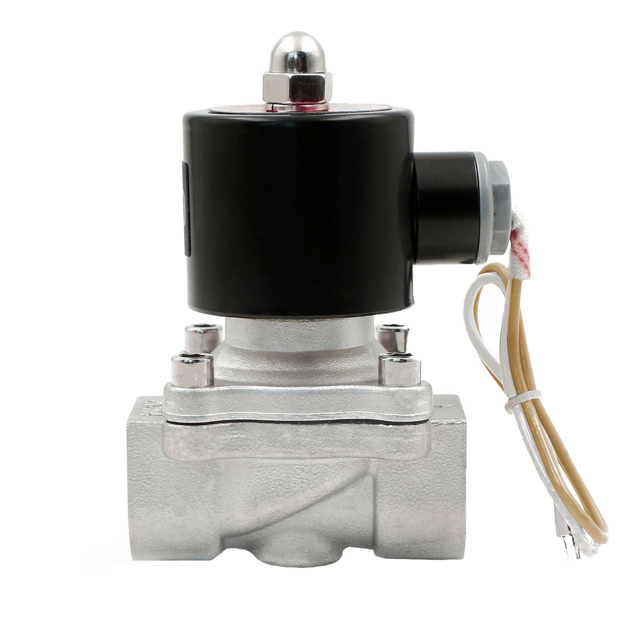 """USSOLID Electric Solenoid Valve- 3/4"""" 110V AC Solenoid Valve Stainless Steel Body Normally Closed, VITON SEAL"""