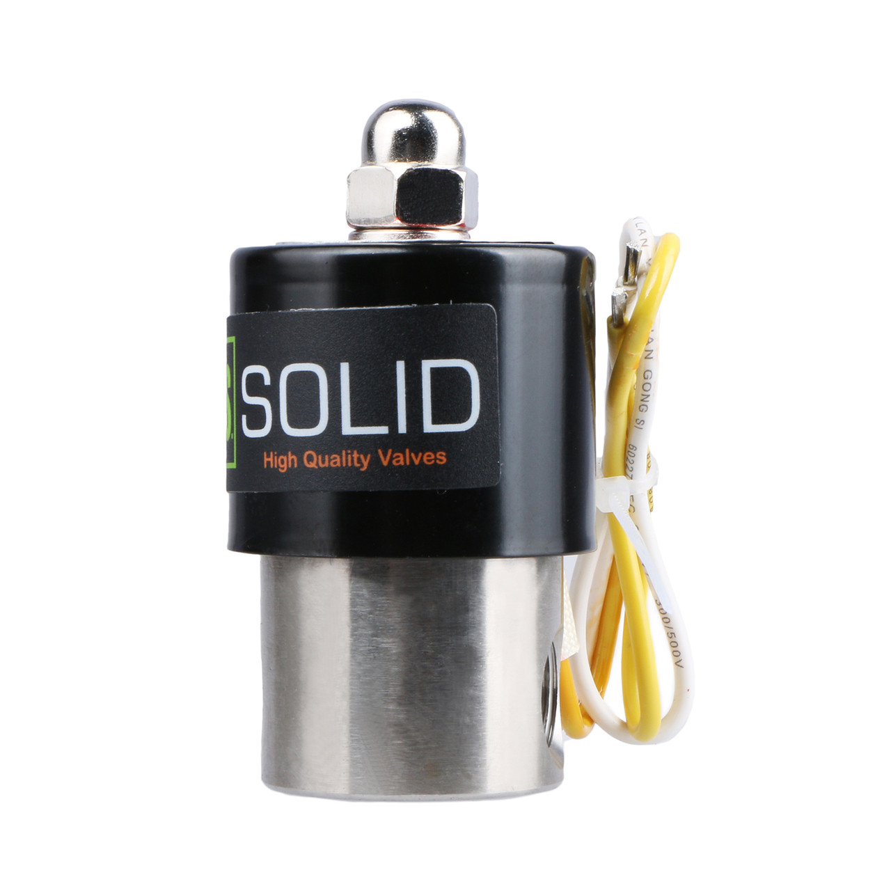 """USSOLID Electric Solenoid Valve- 1/4"""" 110V AC Solenoid Valve Stainless Steel Body Normally Closed, VITON SEAL"""