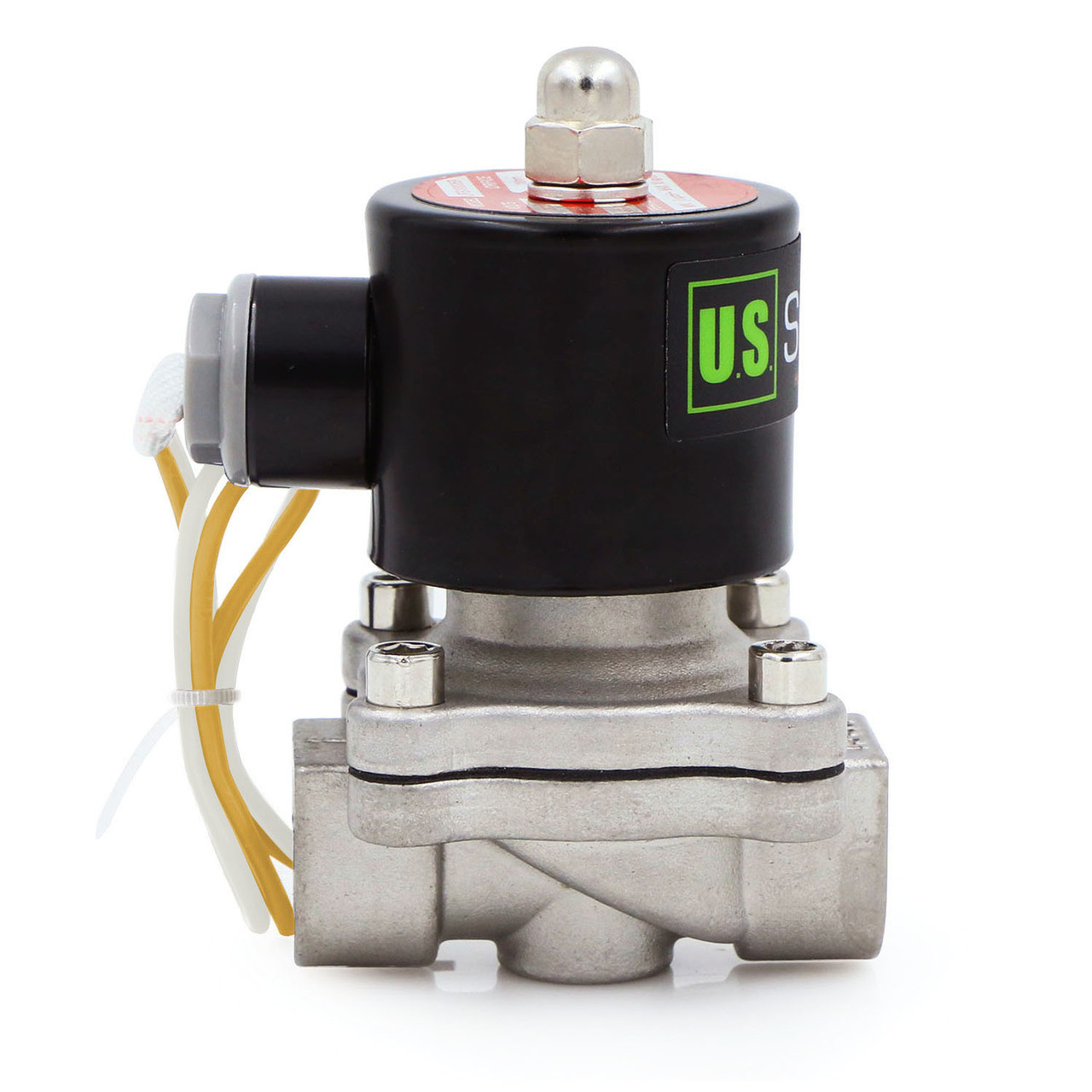 """U.S. Solid Electric Solenoid Valve- 1/2"""" 110V AC Solenoid Valve Stainless Steel Body Normally Closed, VITON SEAL"""