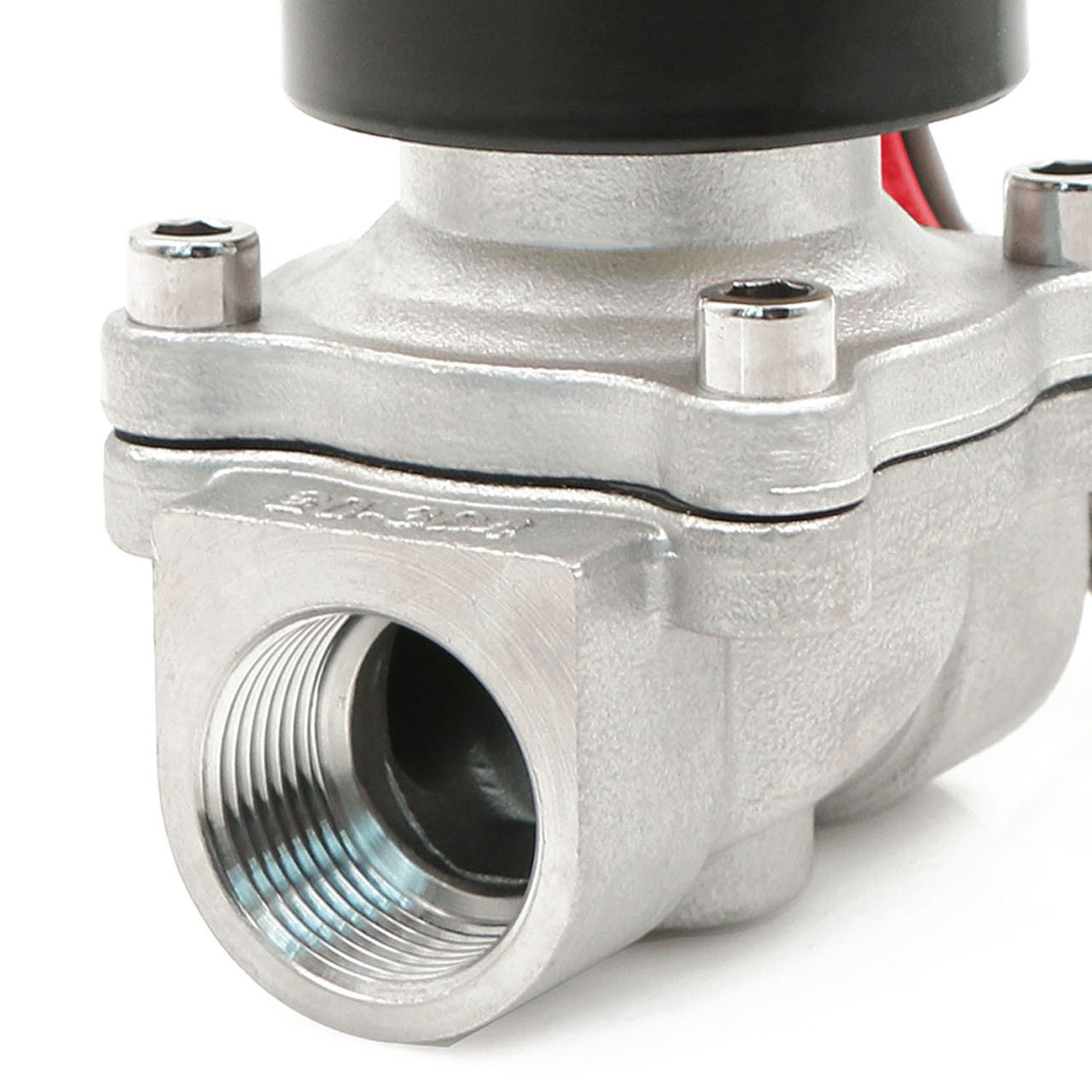 """U.S. Solid Electric Solenoid Valve- 3/4"""" 24V AC Solenoid Valve Stainless Steel Body Normally Closed, VITON SEAL"""