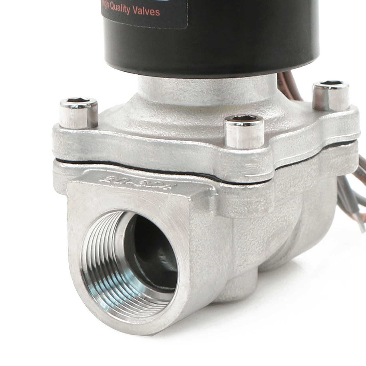 """U.S. Solid Electric Solenoid Valve- 3/4"""" 24V DC Solenoid Valve Stainless Steel Body Normally Closed, VITON SEAL"""