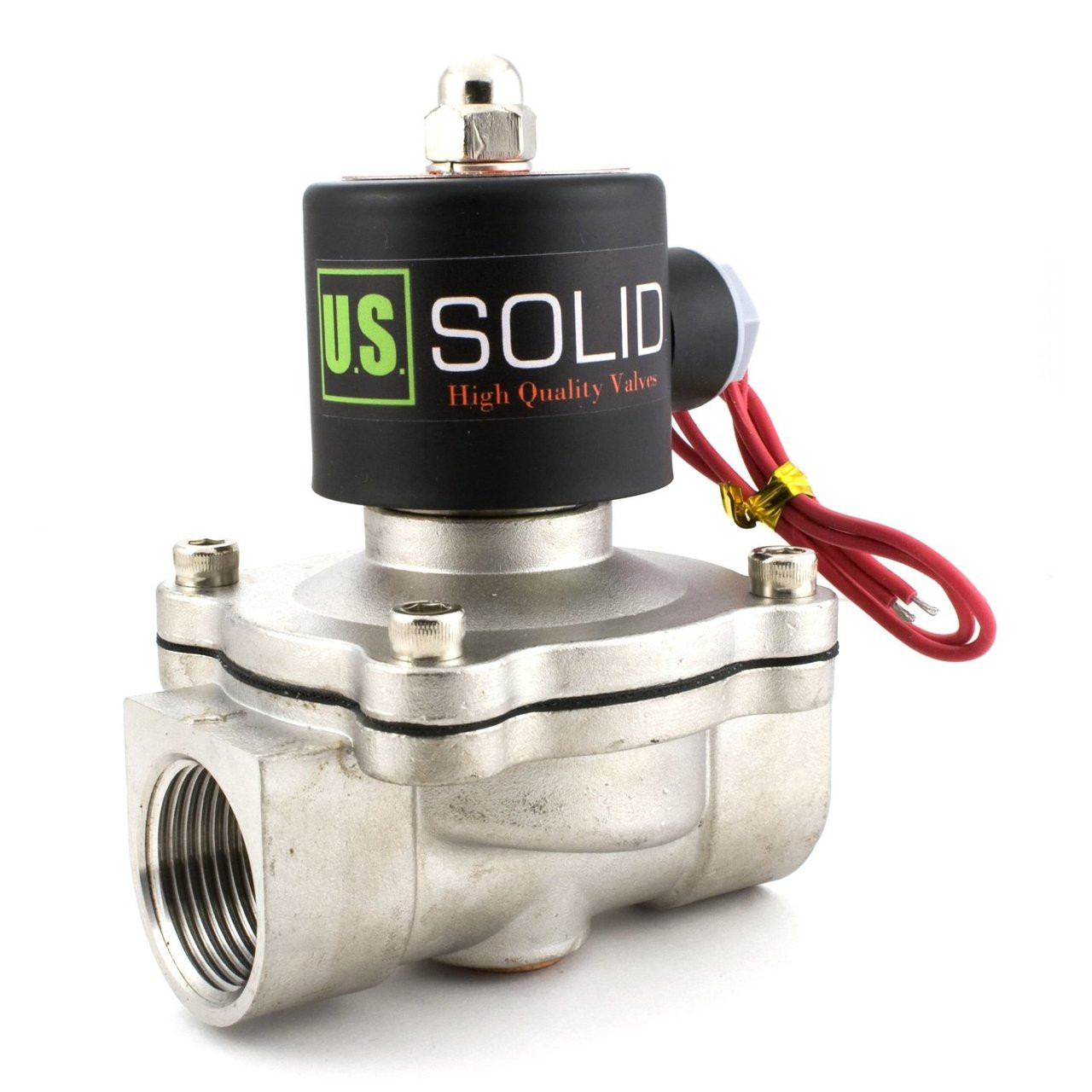 "USSOLID Electric Solenoid Valve- 1"" 12V DC Solenoid Valve Stainless Steel Body Normally Closed, VITON SEAL"