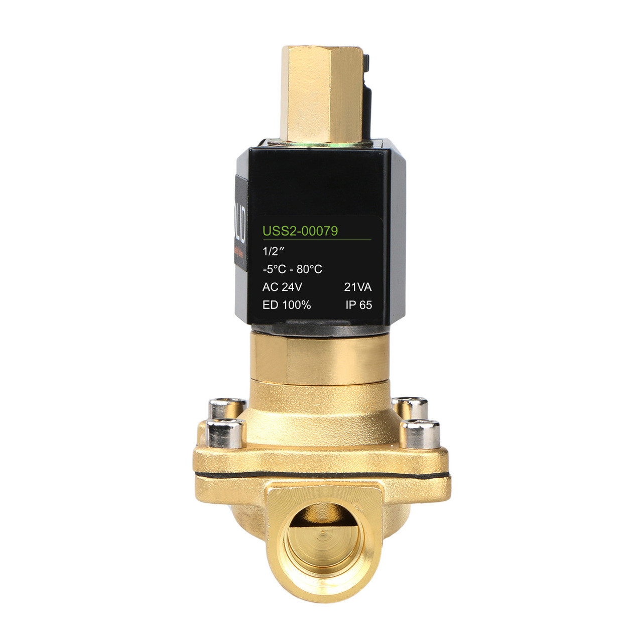 "USSOLID Electric Solenoid Valve- 1/2"" 24V AC Solenoid Valve Brass Body Normally Open, NBR SEAL"