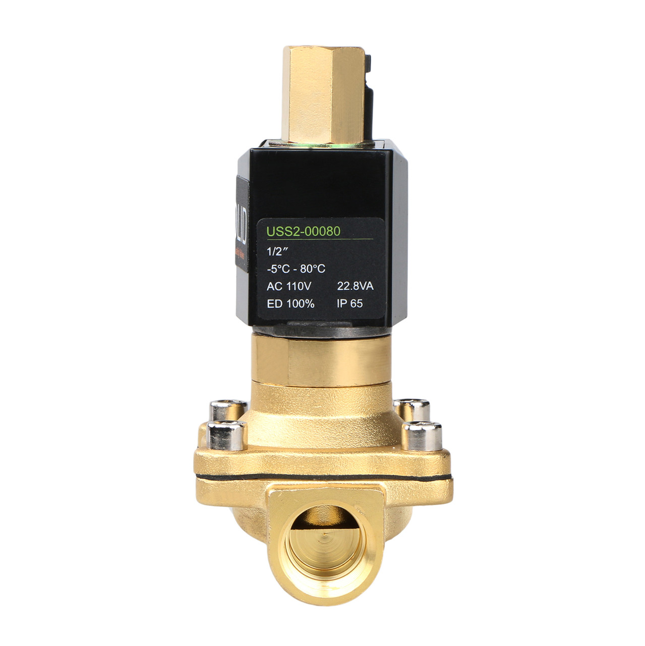"U.S. Solid Electric Solenoid Valve- 1/2"" 110V AC Solenoid Valve Brass Body Normally Open, NBR SEAL"