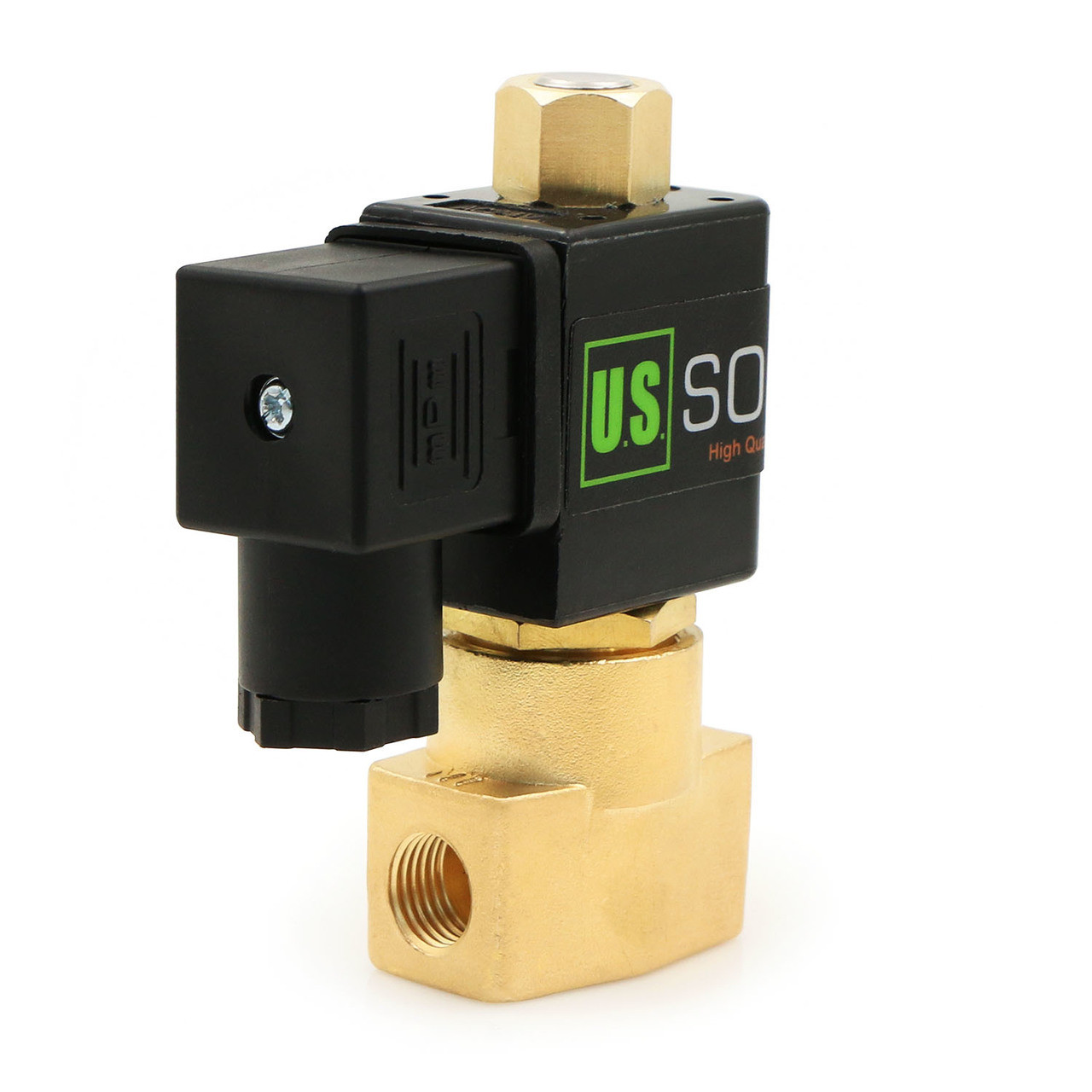"U.S. Solid Electric Solenoid Valve- 1/4"" 12V DC Solenoid Valve Brass Body Normally Open, NBR SEAL"