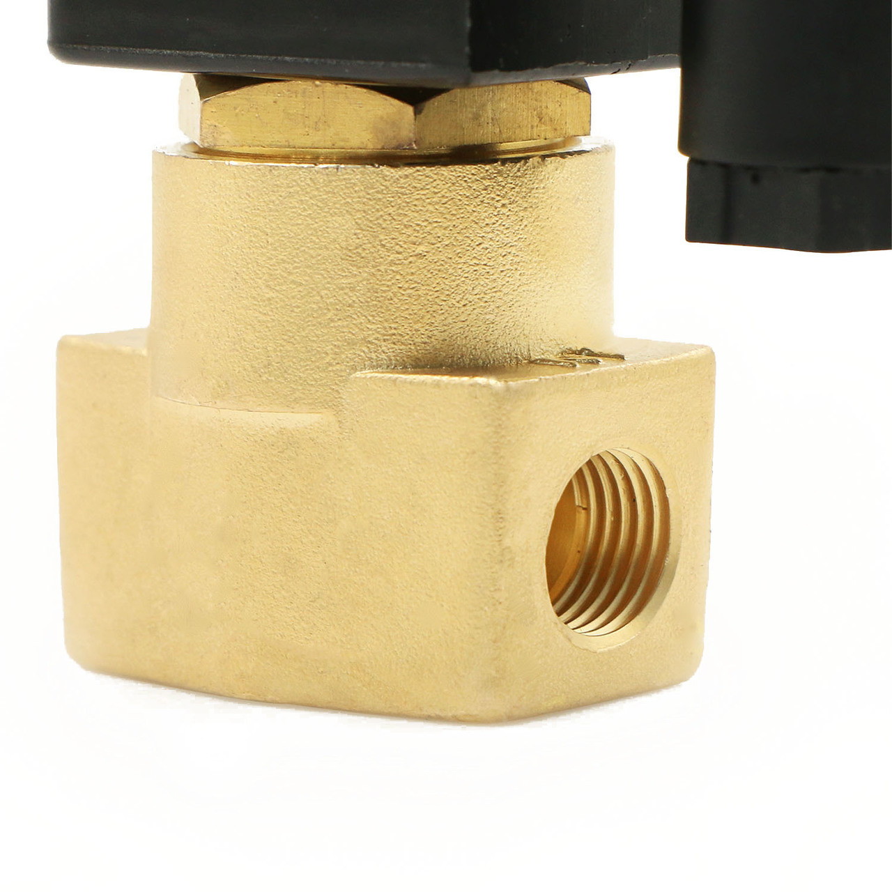 "USSOLID Electric Solenoid Valve- 1/4"" 110V AC Solenoid Valve Brass Body Normally Open, NBR SEAL"