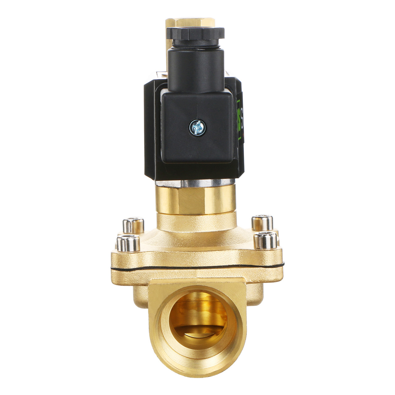 "USSOLID Electric Solenoid Valve- 1"" 110V AC Solenoid Valve Brass Body Normally Open, VITON SEAL"