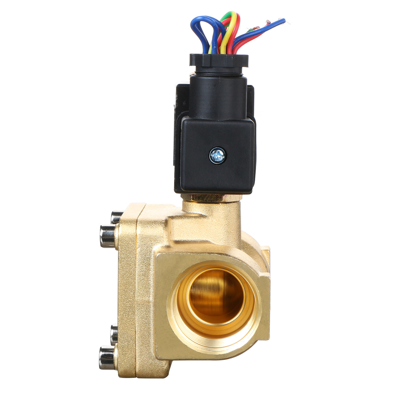 """USSOLID Electric Solenoid Valve- 1"""" 12V DC 230PSI Solenoid Valve Brass Body Normally Closed, VITON SEAL"""