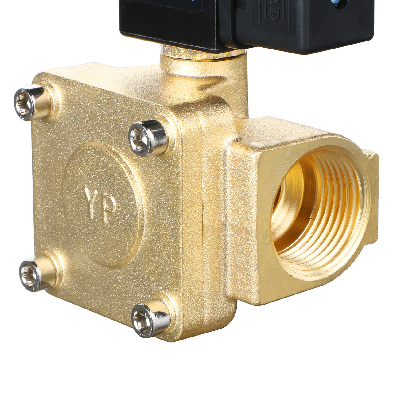 "USSOLID Electric Solenoid Valve- 1"" 110V AC 230PSI Solenoid Valve Brass Body Normally Closed, VITON SEAL"