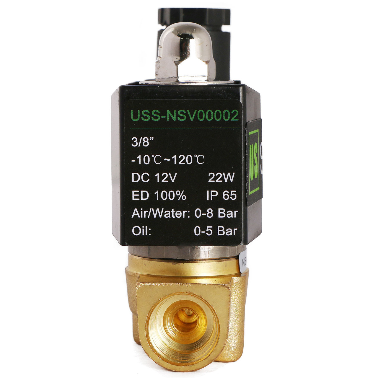 """U.S. Solid 3/8"""" Brass Electric Solenoid Valve 12V DC Normally Closed VITON Air Water Oil Fuel"""