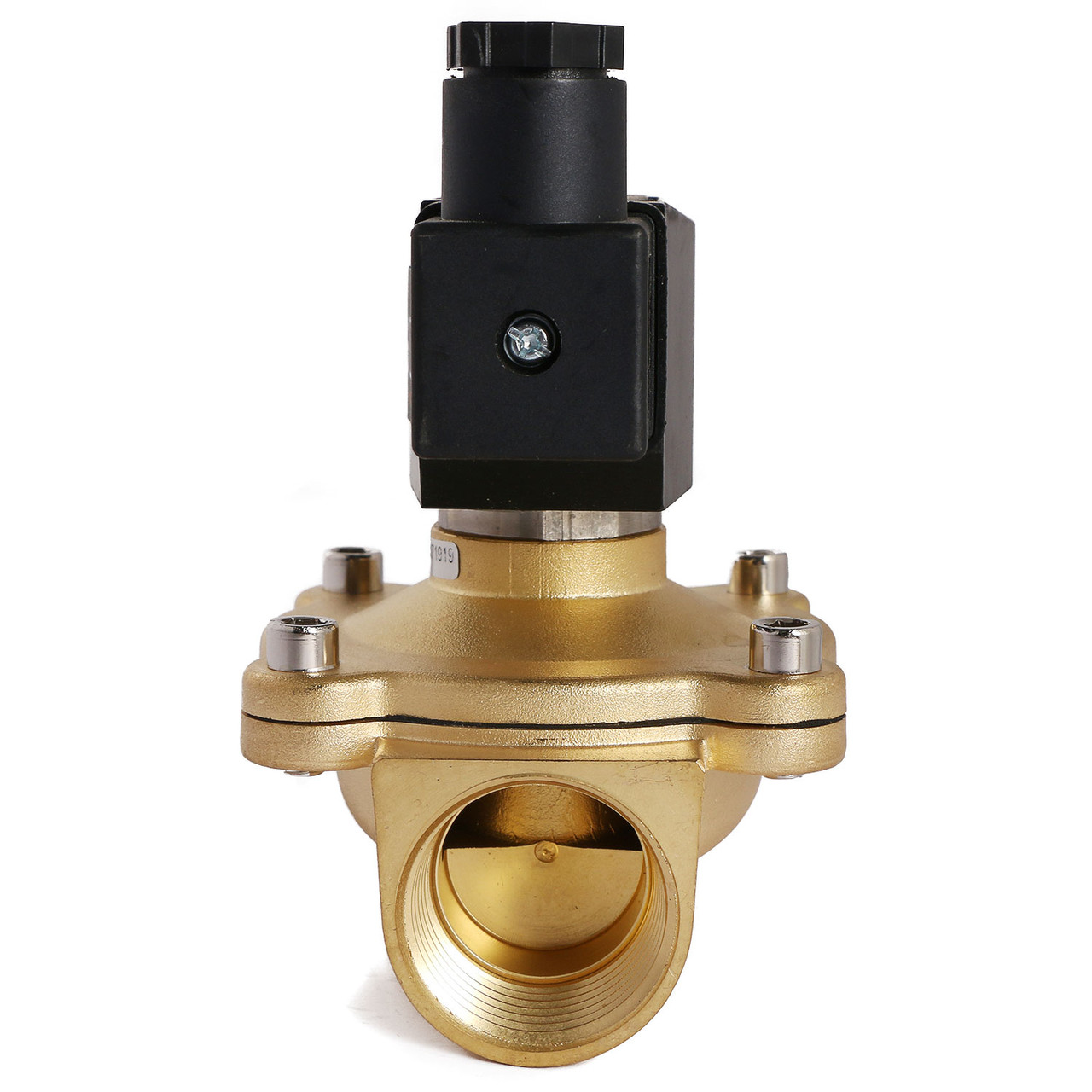 "U.S. Solid 1"" Brass Electric Solenoid Valve 12V DC Normally Closed VITON Air Water Oil Fuel"