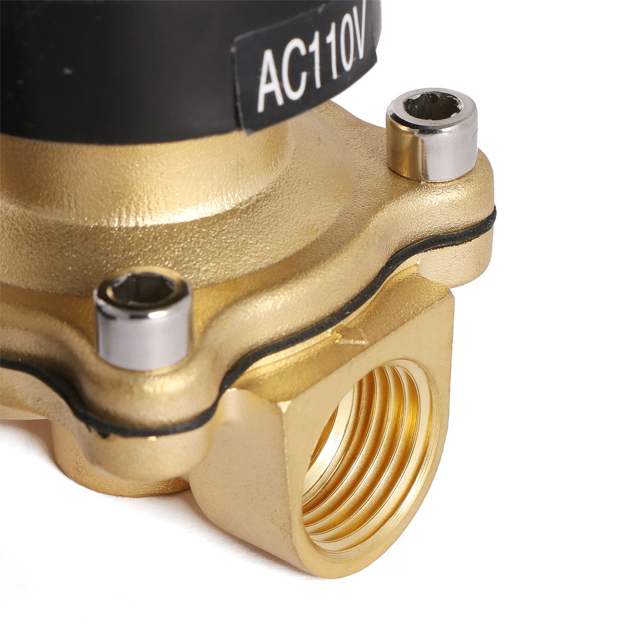"""U.S. Solid 1/2"""" Brass Electric Solenoid Valve Underwater Valve 110V AC Normally Closed VITON Air Water Oil Fuel IP67"""