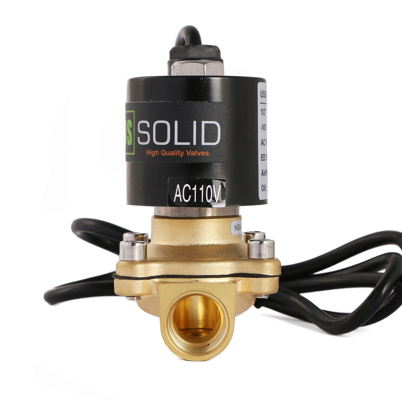 "U.S. Solid 1/2"" Brass Electric Solenoid Valve Underwater Valve 110V AC Normally Closed VITON Air Water Oil Fuel IP67"