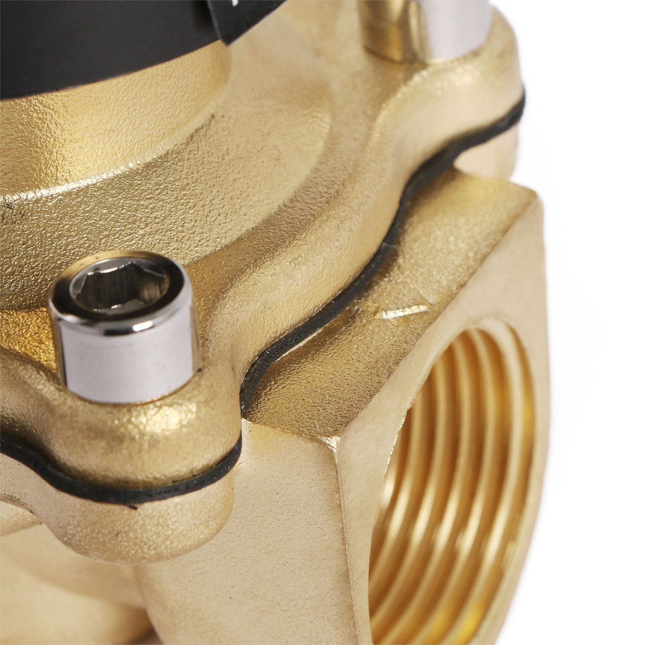 """U.S. Solid 3/4"""" Brass Electric Solenoid Valve Underwater Valve 110V AC Normally Closed VITON Air Water Oil Fuel IP67"""