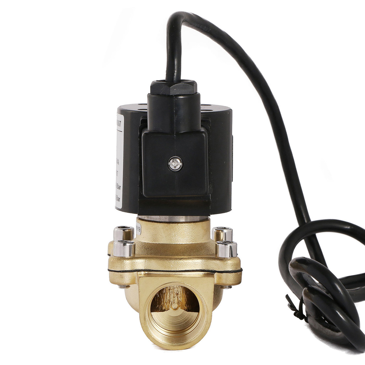"""U.S. Solid 1"""" Brass Electric Solenoid Valve Underwater Valve 110V AC Normally Closed VITON Air Water Oil Fuel IP67"""