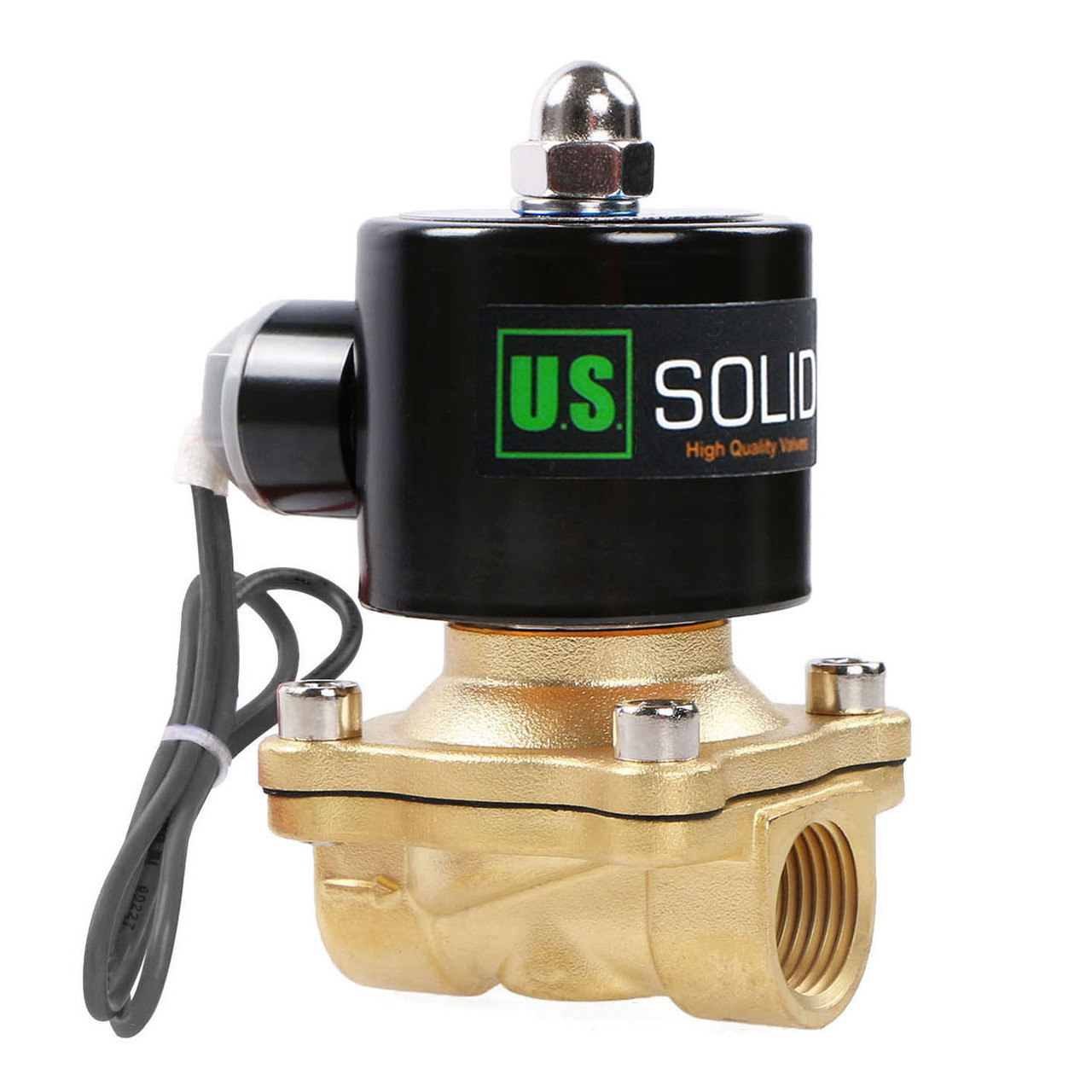 """U.S. Solid 1/2"""" Brass Electric Solenoid Valve 24V DC Normally Closed VITON Air Water Oil Fuel"""