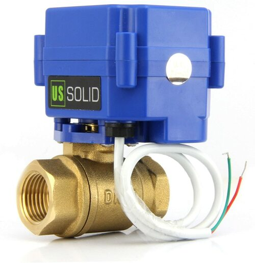 "U.S. Solid Motorized Ball Valve- 1/2"" Brass Electrical Ball Valve with Full Port, 85-265 V AC, 2 Wire Auto Return"
