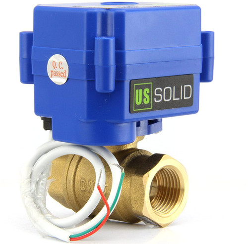 """U.S. Solid Motorized Ball Valve- 1"""" Brass Electrical Ball Valve with Standard Port, 85-265 V AC, 2 Wire Auto Return"""
