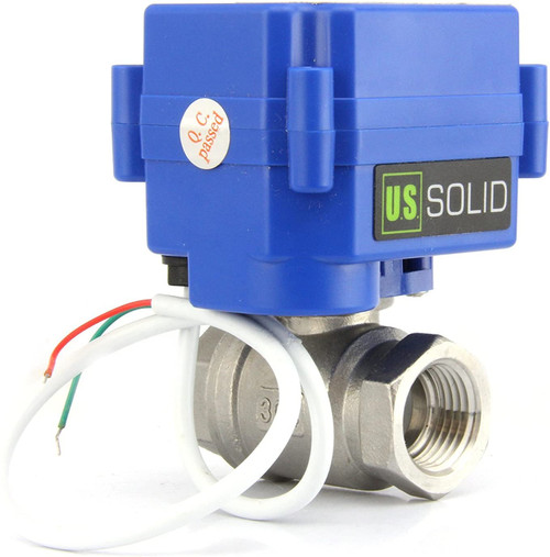 "U.S. Solid Motorized Ball Valve- 1/2"" Stainless Steel Electrical Ball Valve with Full Port, 85-265 V AC, 2 Wire Auto Return"