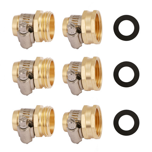 Brass Garden Hose Connector with Stainless Steel Clamps, Male and Female Garden Hose Fittings, 5/8 inch, 3 Sets