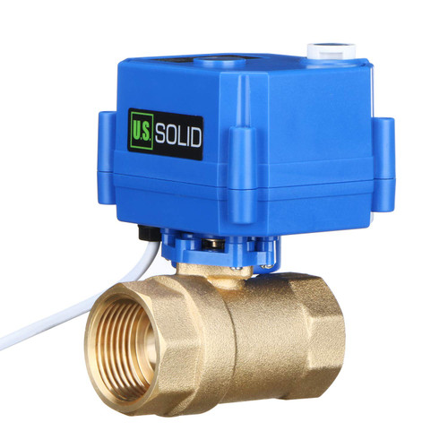 "Motorized Ball Valve- 1"" Brass Ball Valve with Manual Function, Standard Port, 9-24V AC/DC and 2 Wire Auto Return Setup by U.S. Solid"