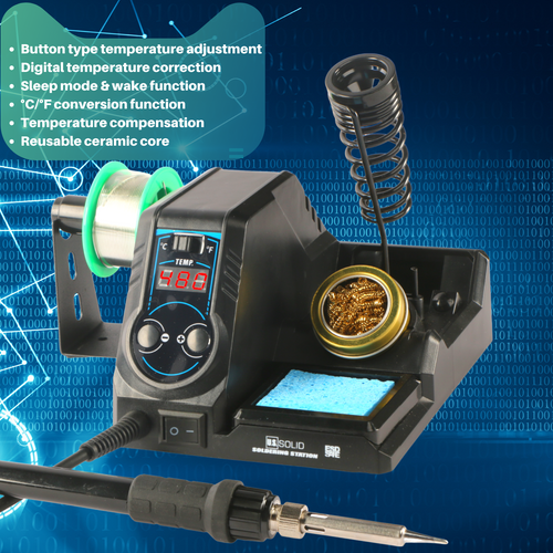 U.S. Solid Soldering Station- Digital Solder Iron Station Kit with 176°F-896°F Temp C/F Switch,  5 x Additional Soldering Tips
