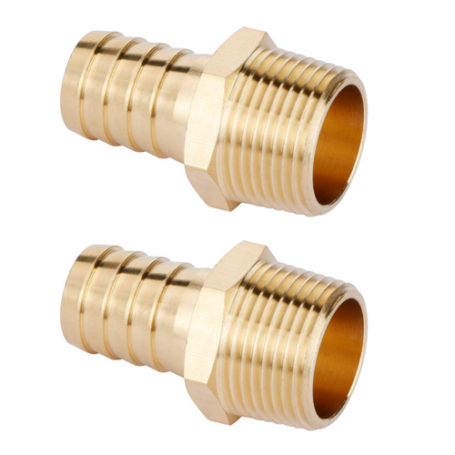 """U.S. Solid Brass Hose Fitting - 3/4"""" Barb x 3/4"""" NPT Male Pipe Fittings Adapters 2pcs"""