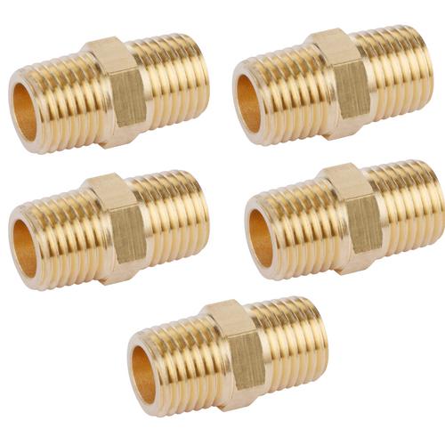 """U.S. Solid Brass Hex Nipple - 1/4"""" x 1/4"""" NPT Male Pipe Fitting Adapter 5pcs"""