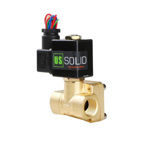 "USSOLID Electric Solenoid Valve- 1/2"" 110V AC Solenoid Valve Brass Body Normally Closed, Pilot Type, VITON SEAL"