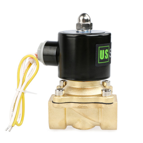 "USSOLID Electric Solenoid Valve- 3/4"" 110V AC Solenoid Valve Brass Body Normally Closed, NBR SEAL"