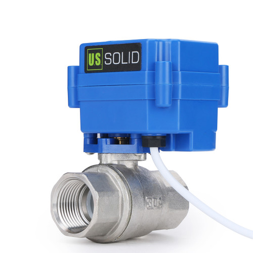 "U.S. Solid Motorized Ball Valve- 1"" Stainless Steel Electrical Ball Valve with Full Port, 9-24 V DC, 2 Wire Reverse Polarity"