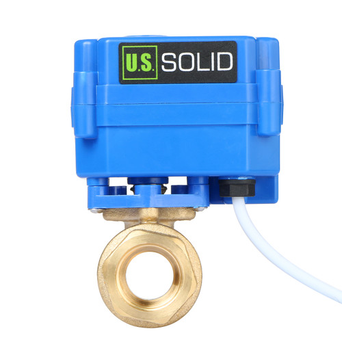 "USSOLID Motorized Ball Valve- 1/2"" Brass Electrical Ball Valve with Full Port, 9-24 V DC, 2 Wire Reverse Polarity"