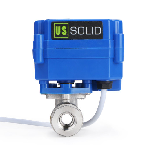 "U.S. Solid Motorized Ball Valve- 1/4"" Stainless Steel Electrical Ball Valve with Full Port, 9-24 V DC, 2 Wire Reverse Polarity"