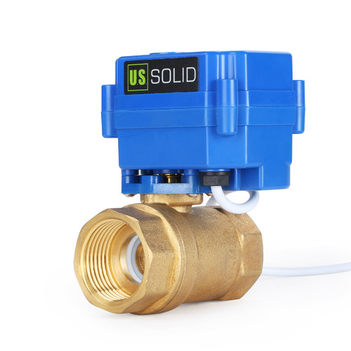 "U.S. Solid Motorized Ball Valve- 1"" Brass Electrical Ball Valve with Standard Port, 9-24 V AC/DC, 3 Wire Setup"