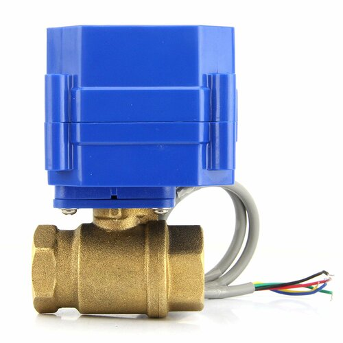 "U.S. Solid Motorized Ball Valve- 3/4"" Brass Electrical Ball Valve with Standard Port, 9-24 V DC, 5 Wire Setup"