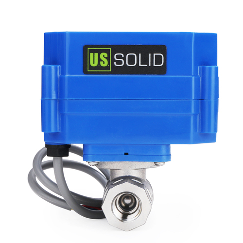 """U.S. Solid Motorized Ball Valve- 1/4"""" Stainless Steel Electrical Ball Valve with Full Port, 9-24 V DC, 5 Wire Setup"""