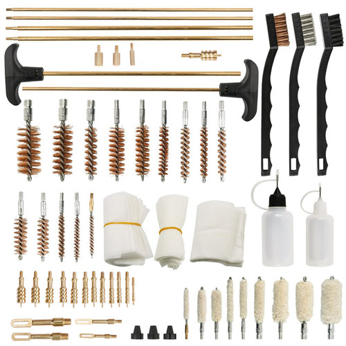 U.S. Solid Gun Cleaning Kit- Rifle Pistol Shotgun Brass Rod Bronze Brush, 163pcs