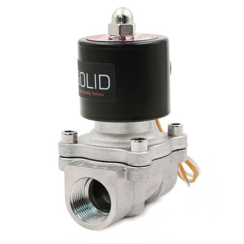 "USSOLID Electric Solenoid Valve- 3/4"" 110V AC Solenoid Valve Stainless Steel Body Normally Closed, VITON SEAL"