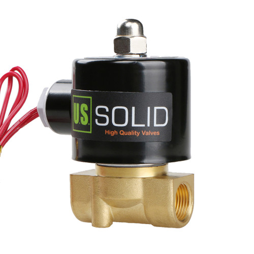 "USSOLID Electric Solenoid Valve- 3/8"" 110V AC Solenoid Valve Brass Body Normally Closed, VITON SEAL"