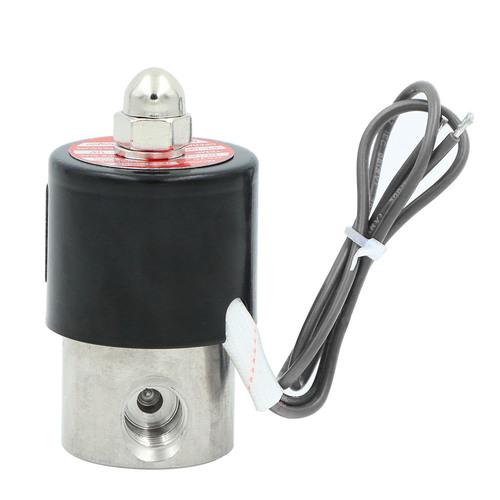 "USSOLID Electric Solenoid Valve- 1/4"" 24V DC Solenoid Valve Stainless Steel Body Normally Closed, VITON SEAL"