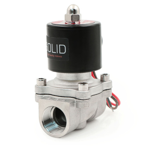 "USSOLID Electric Solenoid Valve- 3/4"" 24V AC Solenoid Valve Stainless Steel Body Normally Closed, VITON SEAL"