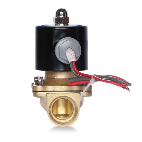 "USSOLID Electric Solenoid Valve- 1/2"" 24V AC Solenoid Valve Brass Body Normally Closed, NBR SEAL"