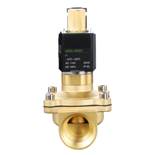 """U.S. Solid Electric Solenoid Valve- 1"""" 110V AC Solenoid Valve Brass Body Normally Open, VITON SEAL"""